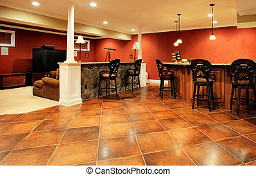 Upscale Family Room Interior - View of family room with bar,...