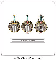 Icons Fantasy Sword - Set of game icons fantasy swords...