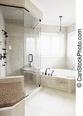 Upscale Bathroom Interior - Upscale neutral-toned bathroom...