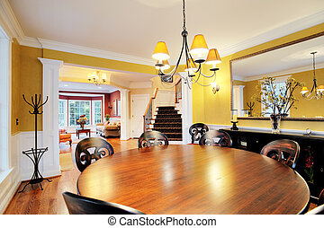 Dining Room Interior - Wide-angle view of dining room, with...