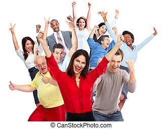 Happy people crowd. - Happy joyful people group isolated...