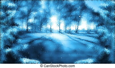 Winter landscape background - Fantasy winter background loop...