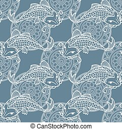 Koi carps seamless texture - Vector seamless pattern with...