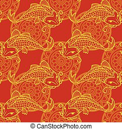 Koi carps seamless texture - Vector seamless red and yellow...