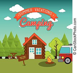 Camping vacation and travel