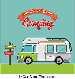 Camping vacation and travel cartoon design, vector...