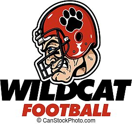 wildcat football design with player wearing a helmet with...