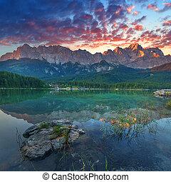 Eibsee - Fantastic sundown on mountain lake Eibsee, located...