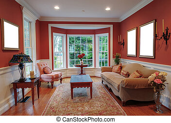 Living Room Interior With Bay Window - View of a traditional...