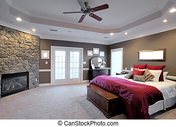 Large Bedroom Interior - Interior of a large modern bedroom...