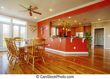 Dining Room and Kitchen Interior - View of a homes dining...
