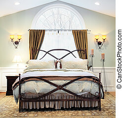 Dramatic Bedroom Interior - Interior of an upscale bedroom...
