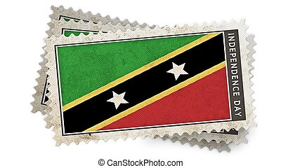 st kitts & nevis  flag on stamp independence day is overlay