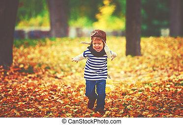在戶外, 玩, 秋天, 孩子, 飛行員, 飛行員, 愉快