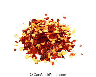 crushed red pepper, dried chili flakes and seeds isolated on...