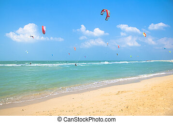 Kite surfing on a prestine beach in Dubai