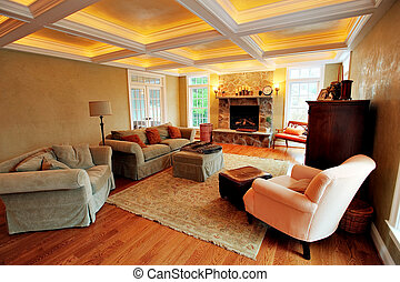 Upscale Living Room Interior - View of an upscale living...