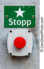 Emergency stop - Red Swedish emergency stop button and sign.