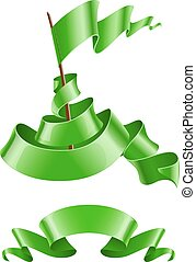 Flapping flag and ribbon green colour. Eps10 vector...