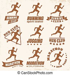 logos for running club - Vector set logos for running club
