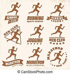 logos for running club - Vector set logos for running club