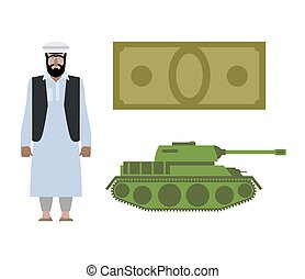 Set of icons for military conflict in Syria. Refugee, Money and tank. Vector political illustration for infographics