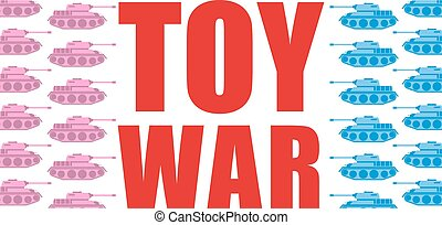 Toy war. Pink and blue tanks go on the offensive. Military...