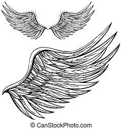 caricatura, anjo, asa