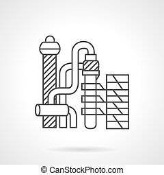 Flat line vector icon for petrochemical plant. - Industrial...