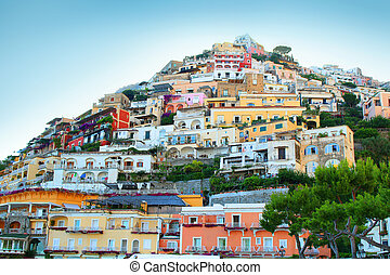 Positano - Colorful houses along the steep hillside in the...