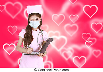 female nurse writting clipboard with heart background
