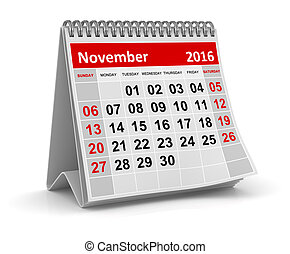 Calendar - November 2016 , This is a computer generated and...