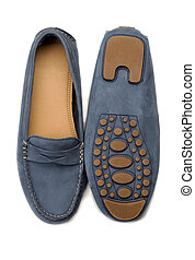 loafers pair isolated - A pair of blue suede shoes Isolate...