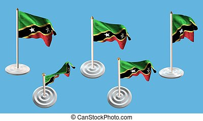 st kitts & nevis flags with white pin set multiple views