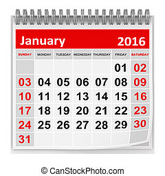 Calendar - January 2016 , This is a computer generated and...