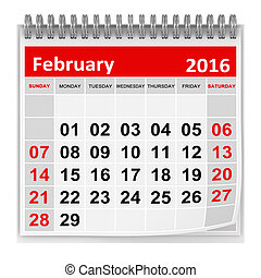 Calendar - February 2016 , This is a computer generated and...