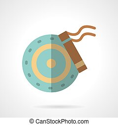 Car brakes flat color vector icon - Wheel disk with brakes...