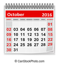 Calendar - October 2016 , This is a computer generated and...