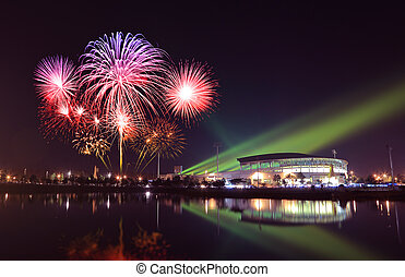 beautiful firework over stadium with sky at night