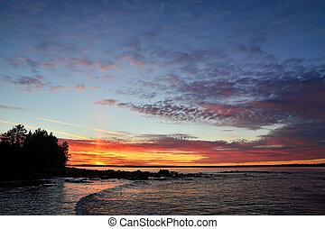 Sunset on the White sea. Karelia, Russia