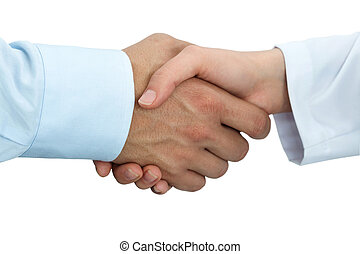 Female medicine doctor shaking hands with male patient....