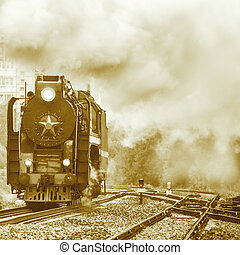 Old retro steam locomotive - Old retro steam locomotive...