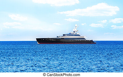 yacht at the sea in the summer - beautiful yacht at the sea...