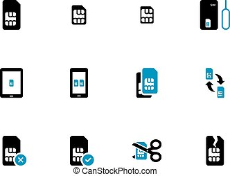 Mobile communications cards duotone icons on white...
