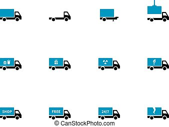 Truck and transportation duotone icons on white background...