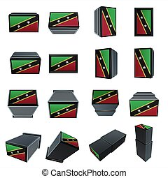 st kitts & nevis flags 3D Box with  mesh texture