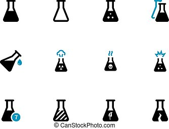 Experiment flask duotone icons on white background. Vector...