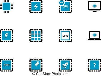 Computer microchip CPU duotone icons on white background.