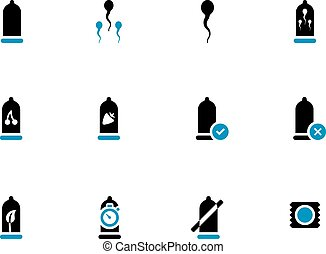 Condoms duotone icons on white background. Vector...