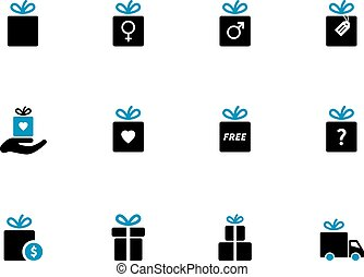 Gift box duotone icons. Holiday presents. Vector...